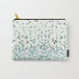 Floating Confetti - Cream Mint and Silver Carry-All Pouch