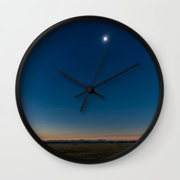 Solar Eclipse Totality Over Grand Tetons Wall Clock