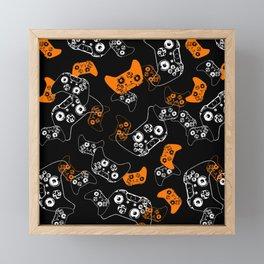 Video Game Orange on Black Framed Mini Art Print