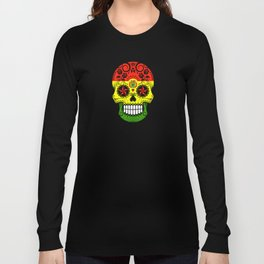 Sugar Skull with Roses and Flag of Bolivia Long Sleeve T-shirt