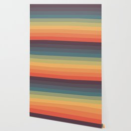 Colorful Retro Striped Rainbow Wallpaper
