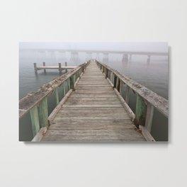 Misty Assateague Pier Metal Print