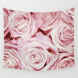 Beautiful bed of pink roses - Floral Rose Flowers Wall Tapestry
