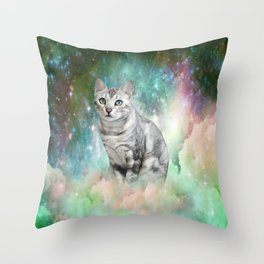 Purrsia Kitty Cat in the Emerald Nebula of Innocence Throw Pillow