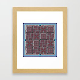 number 143 aqua blue white black pattern Framed Art Print