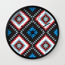 Colorful patchwork mosaic oriental kilim rug with traditional folk geometric ornament. Tribal style Wall Clock