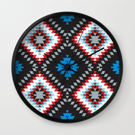 Colorful patchwork mosaic oriental kilim rug with traditional folk geometric ornament. Tribal style Wall Clock