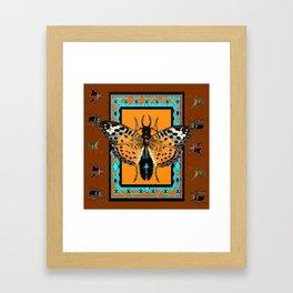 WESTERN COFFEE BROWN-TURQUOISE  BUTTERFLY & BEETLES ART Framed Art Print
