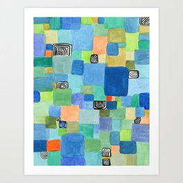 Blue and Green Mosaic Art Print