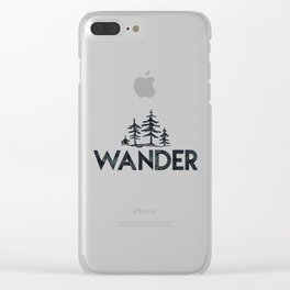 WANDER Forest Trees Black and White Clear iPhone Case