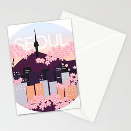 Seoul Tower with Cherry Blossoms Woodblock Style Souvenir Print Stationery Cards