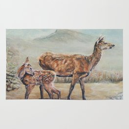 Red deer hind with fawn. Rug