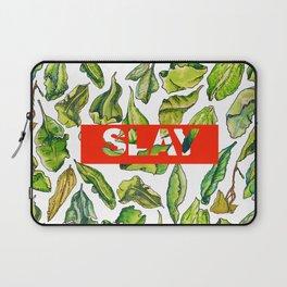 slay tea slay! // watercolor tea leaf pattern with millennial slang Laptop Sleeve