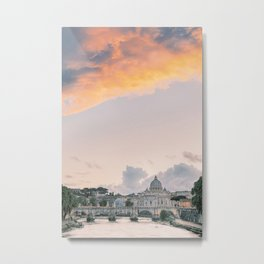 Angels Bridge and Saint Peters Basillica in Rome at Sunset | Ponte Sant Angelo over the Tiber River in Italy | Vatican City Travel Photography Europe Metal Print