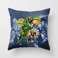 dbz Throw Pillows featuring DBZ - Cell Saga by Mr. Stonebanks