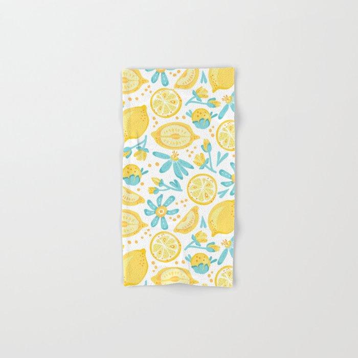 Lemon pattern White Hand & Bath Towel