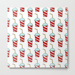 Takeaway soft drinks background with seamless pattern of red and white striped paper cups Metal Print