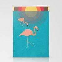flamingos Stationery Cards featuring Flamingos by Simon Alenius