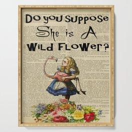 wild flower alice in wonderland mad Serving Tray