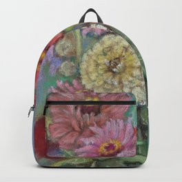 Autumn FLOWERS in the garden Still Life Pastel drawing Pink Purple Decorative Painting Backpack
