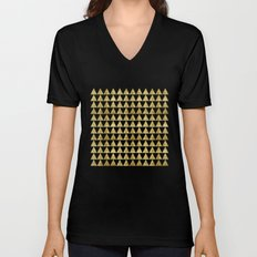 Triangles Black&Gold Unisex V-Neck