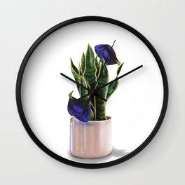 Blue Tang & Snake Plant Wall Clock
