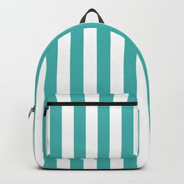 Narrow Vertical Stripes - White and Verdigris Backpack