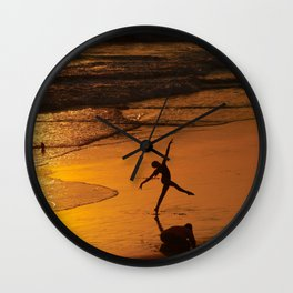 Modern Rio Dancing On the Sand Wall Clock