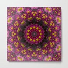 Pink Aster Kaleidoscope Metal Print