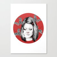 tenenbaum Canvas Prints featuring Margot Tenenbaum by Ester Dus
