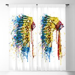 Native American Feather Headdress Blackout Curtain