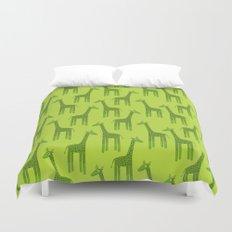 Giraffes-Green Duvet Cover