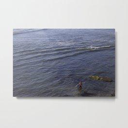 Lone Surfer Girl Metal Print