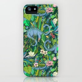 Improbable Botanical with Dinosaurs - dark green iPhone Case