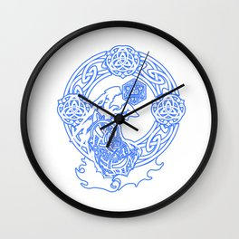 Awesome Tabletop Gaming Gift Print Line Art Dragons D20 Dice Print Wall Clock