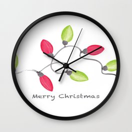 Merry Christmas String of Lights Wall Clock