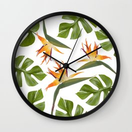 Strelitzia and Monstera white Wall Clock