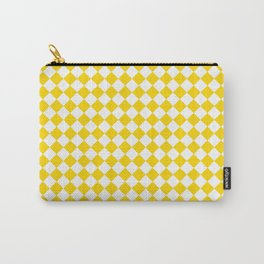 Small Diamonds - White and Gold Yellow Carry-All Pouch