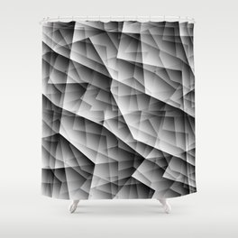 Monochrome pattern of chaotic black and white glass fragments, irregular cubic figures and ice floes Shower Curtain