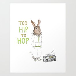 Too Hip to Hop -- watercolor bunny in a track suit print by Monica Martino Art Print