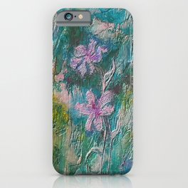 Embossed Impressionist Pink flowers with green background iPhone Case