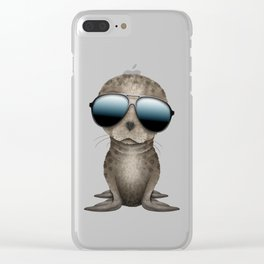 Cute Baby Seal Wearing Sunglasses Clear iPhone Case