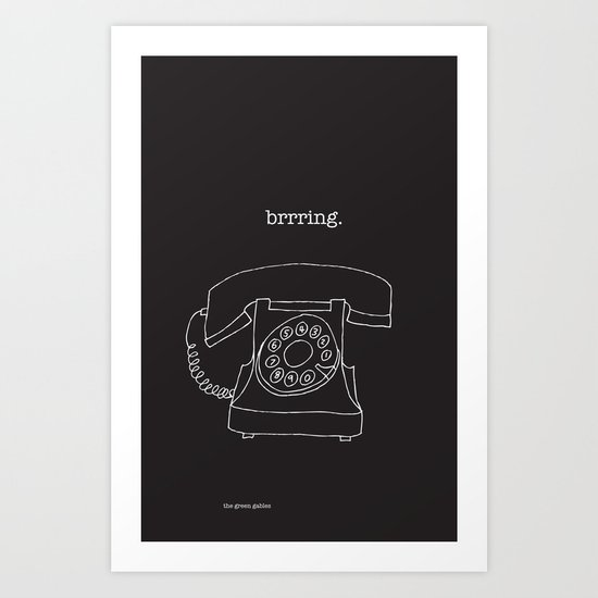 Vintage Telephone Negative Art Print