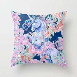 Crystal Snake Rainbow Unicorn Throw Pillow