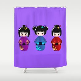 Cute kokeshi dolls cartoon Shower Curtain