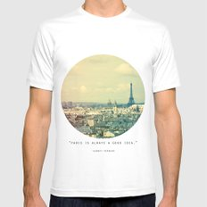 Pale Paris MEDIUM White Mens Fitted Tee