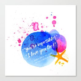 """Percy Jackson Percabeth House of Hades """"I love you too!"""" Quote Canvas Print"""