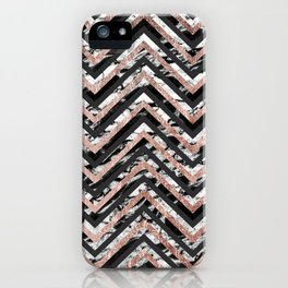 Black and White Marble and Rose Gold Chevron Zigzag iPhone Case