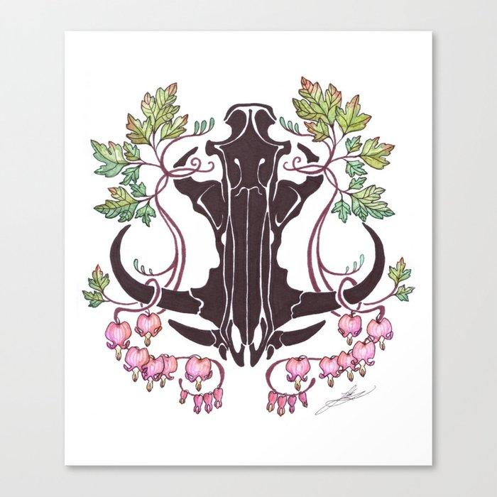 Boar Skull with Bleeding Hearts Canvas Print