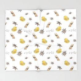Seamless pattern with lemon slices and spices Throw Blanket